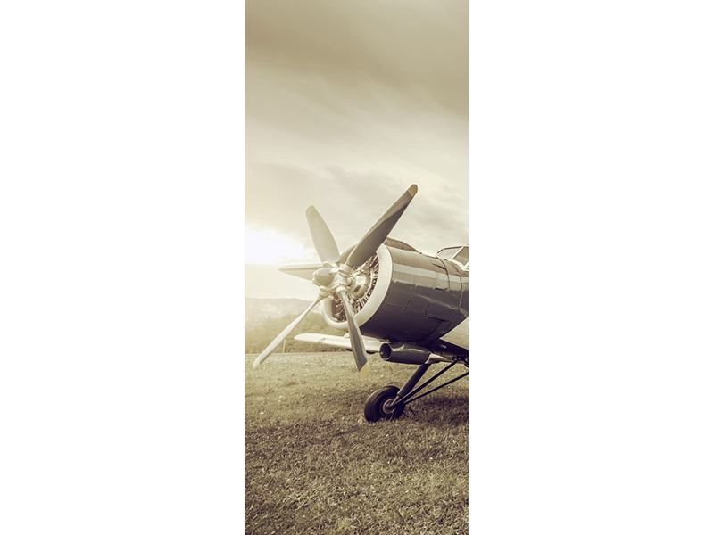 Türtapete Nostalgisches Flugzeug im Retrostyle