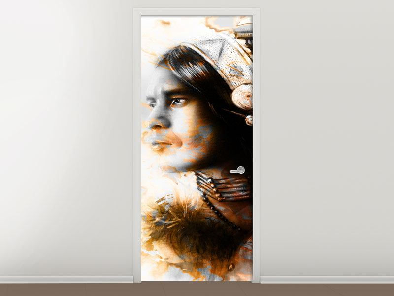 Türtapete Kunstvolles Indianer-Portrait