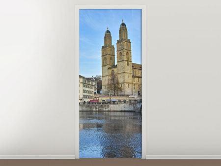 Türtapete Die Altstadt von Zürich