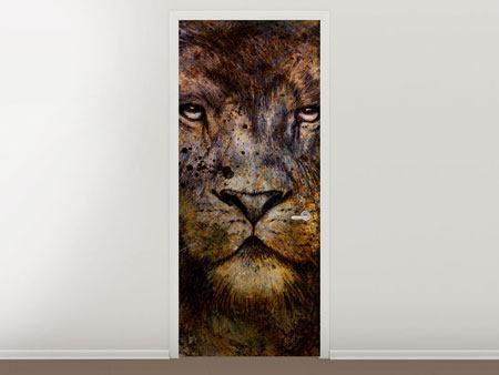 Türtapete Portrait eines Löwen