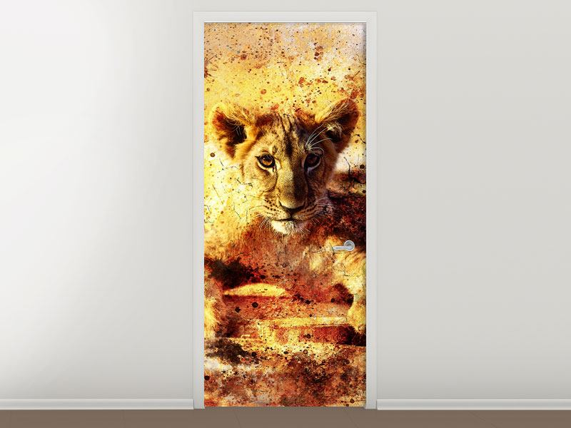 Türtapete Kunstvolle Löwin
