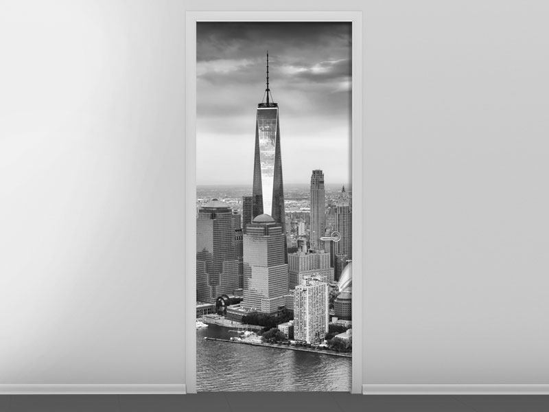 Türtapete Skyline Schwarzweissfotografie New York