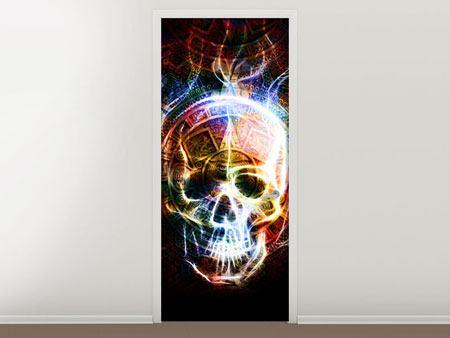 Türtapete Psychedelic Skull