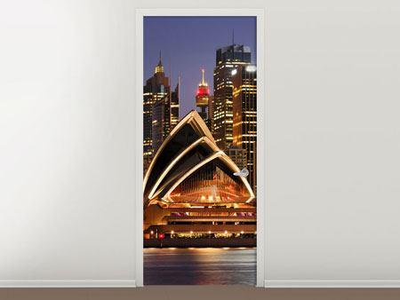 Türtapete Skyline Mit dem Boot vor Sydney