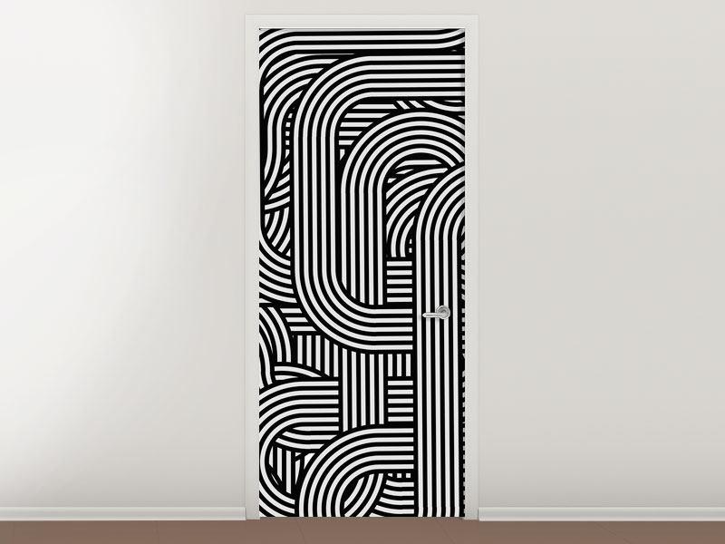 Türtapete 3D Black & White