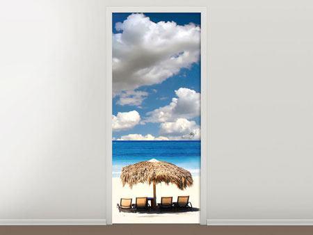 Türtapete Strand an der blauen Lagune