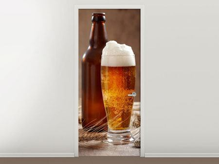 Türtapete Bier mit Schaum