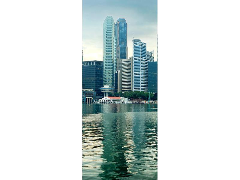 Türtapete Skyline Sonnenaufgang in Singapur