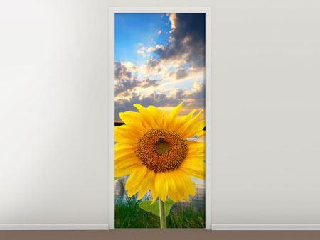 Türtapete Sonnenblume am See