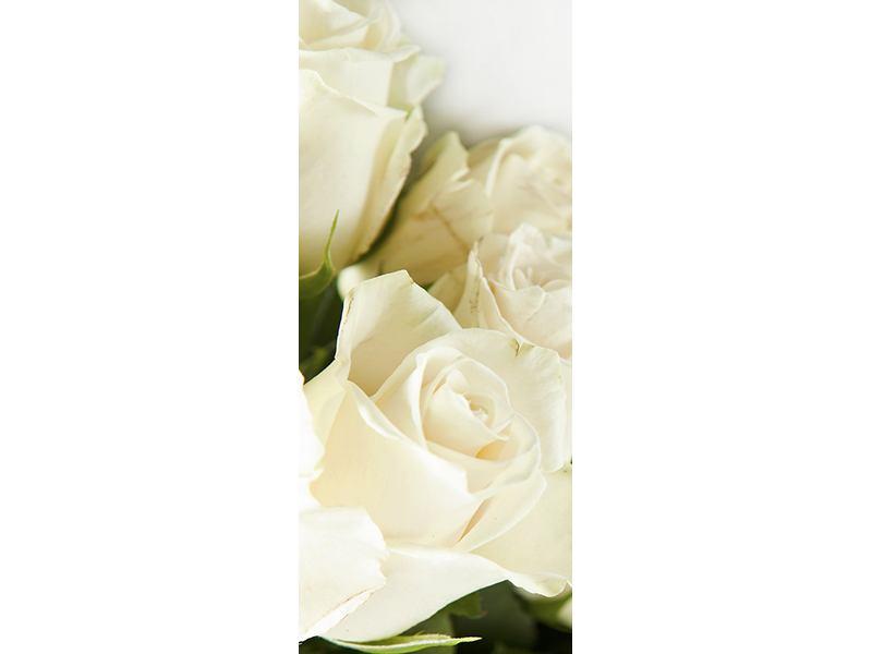 Türtapete Weisse Rosen