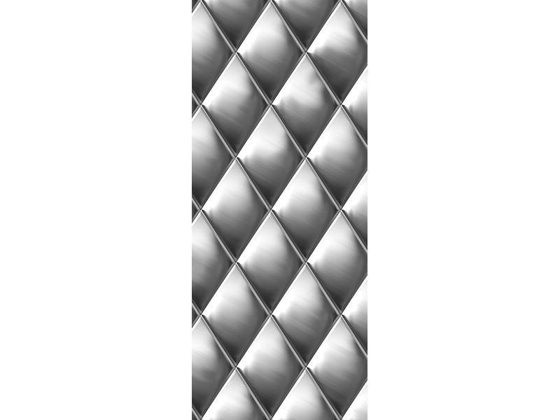 Türtapete 3D-Rauten Silbergrau