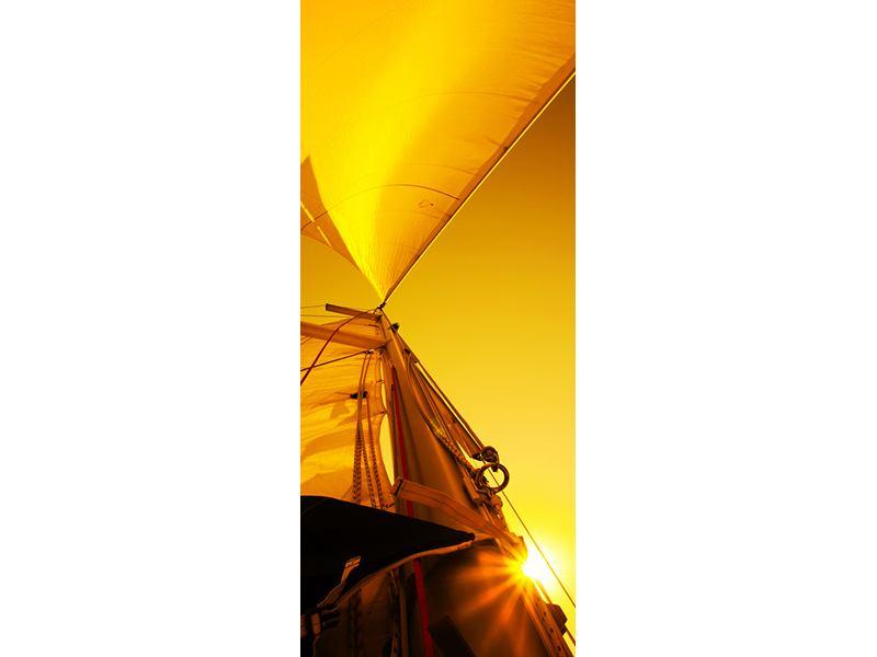 Türtapete Segelboot im Sonnenuntergang