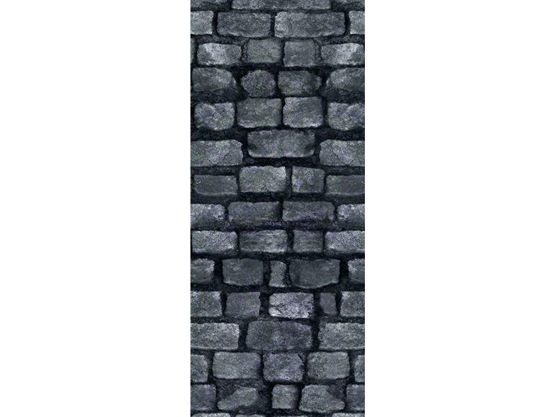 Türtapete Graue Steinmauer