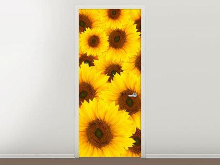 Türtapete Ein Strauss Sonnenblumen