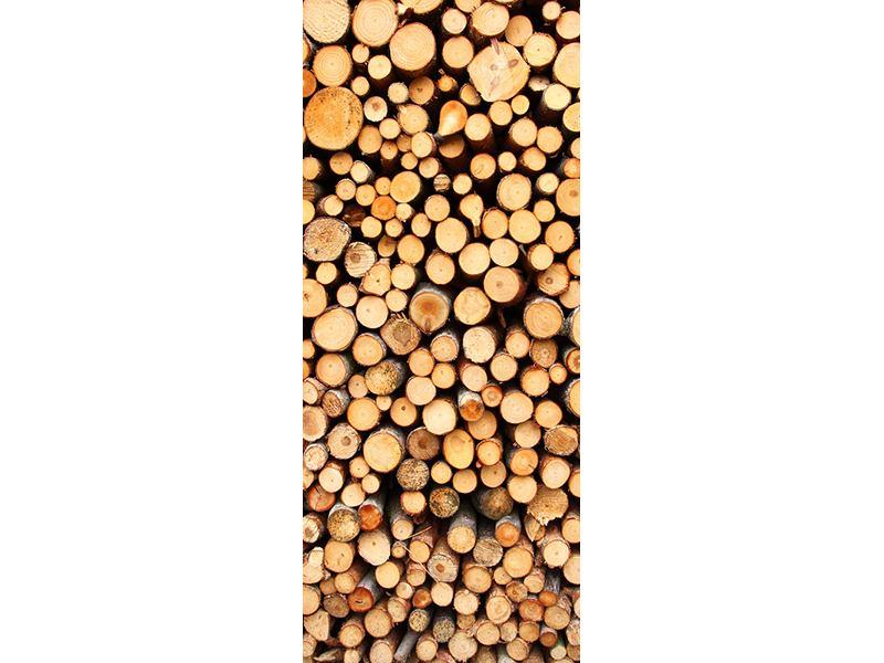 Türtapete Holzstämme