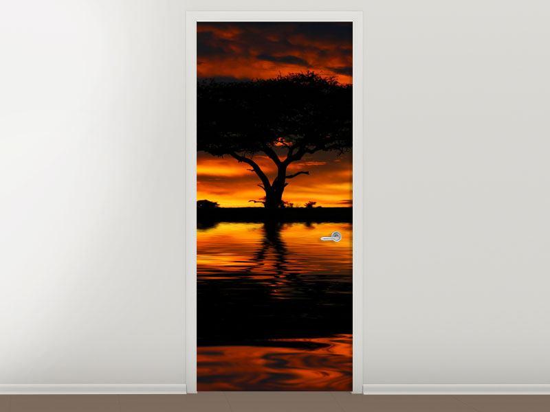 Türtapete Sonnenuntergang in Kenia