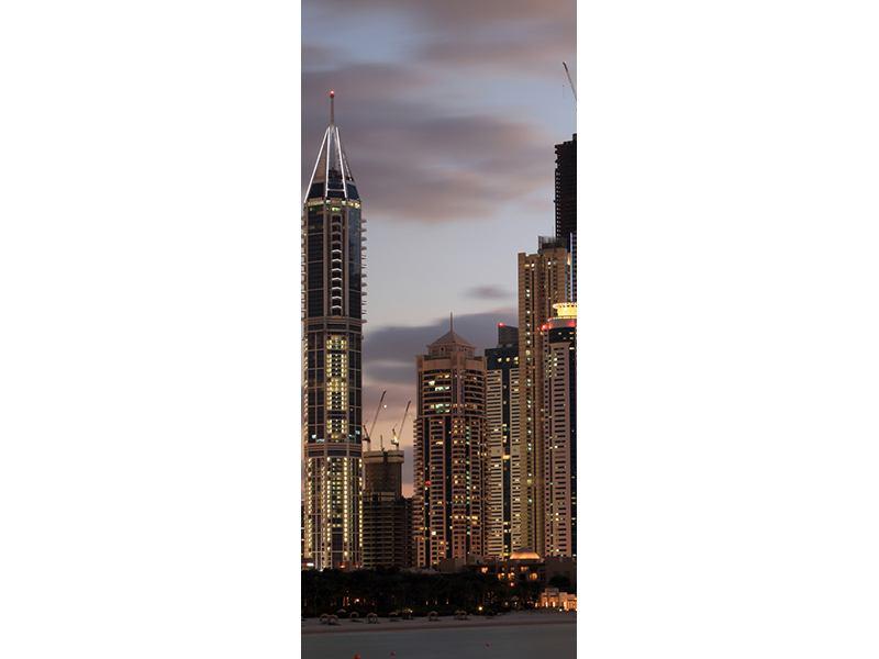 Türtapete Skyline Dubai bei Sonnenuntergang
