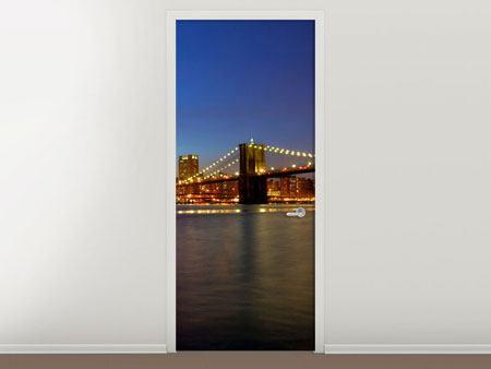Türtapete Skyline Manhattan im Lichtermeer