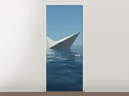 Türtapete Papierschiffchen