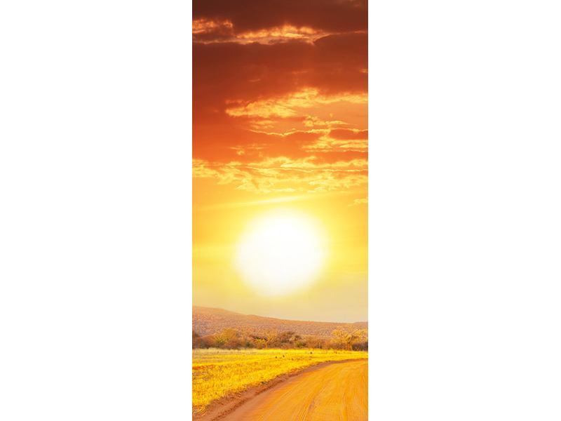 Türtapete Sonnenuntergang in der Savanne