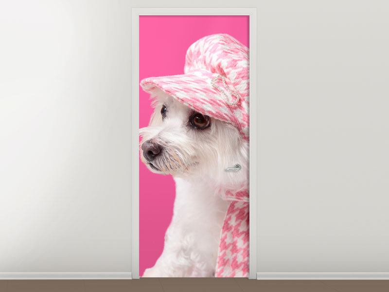 Türtapete Pretty Dog In Pink