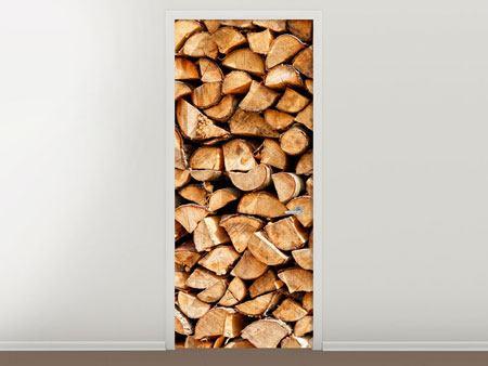 Türtapete Gestapeltes Holz