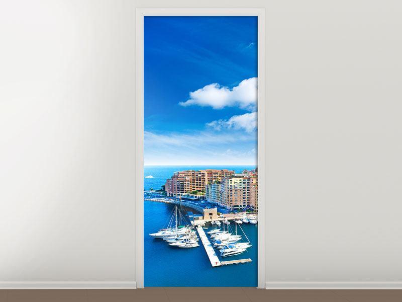 Türtapete Skyline Panoramablick Jachthafen Monaco