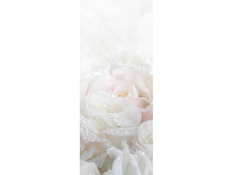 Türtapete Weisse Rosen im Morgentau
