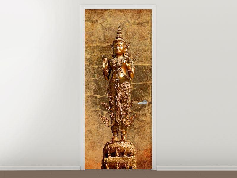 Türtapete Goldene Buddha-Statue