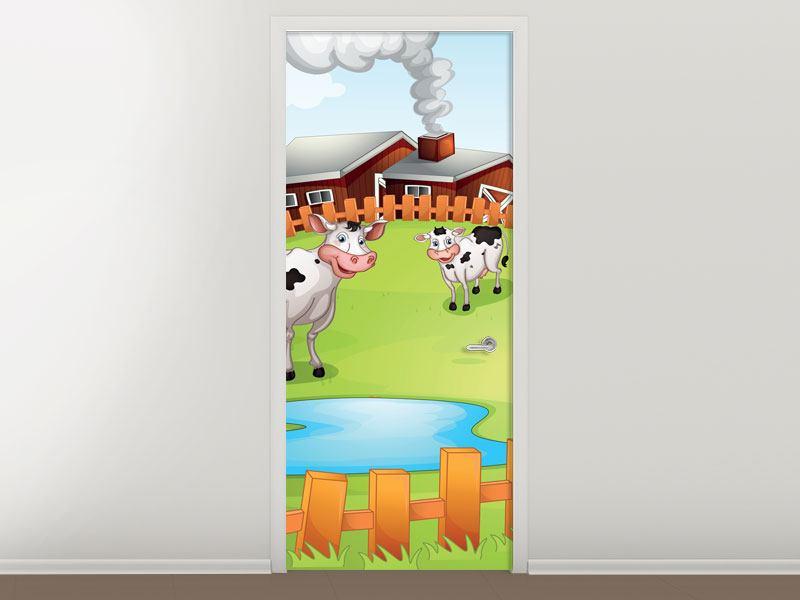 Türtapete Die lustigen Kühe