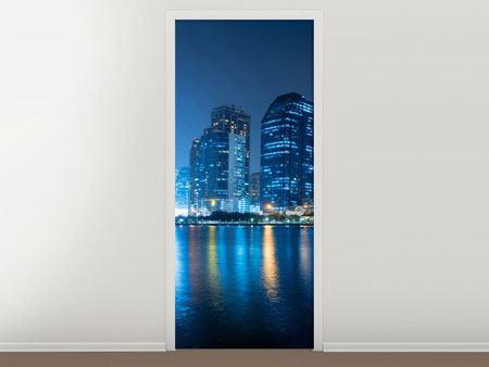 Türtapete Skyline Bangkok bei Nacht
