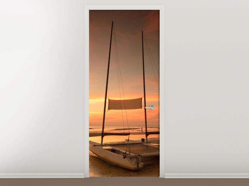 Türtapete Sonnenuntergang am Strand