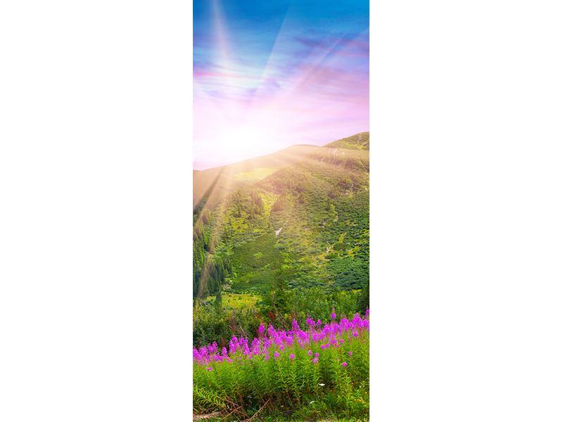Türtapete Eine Sommerlandschaft bei Sonnenaufgang