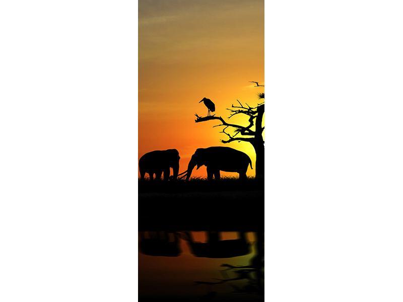 Türtapete Safarietiere bei Sonnenuntergang