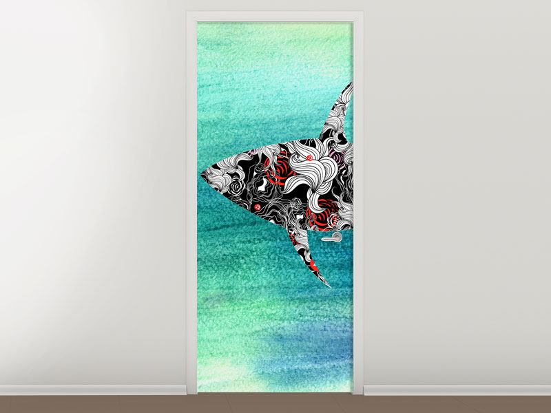 Türtapete Haifisch-Ornament