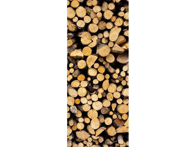 Türtapete Brennholz