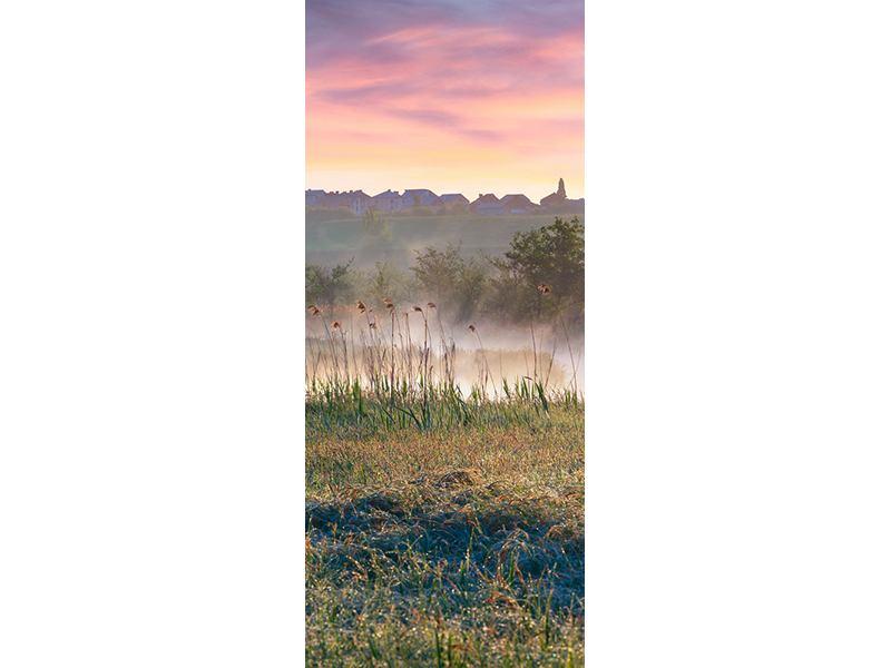 Türtapete Sonnenuntergang am Hügel