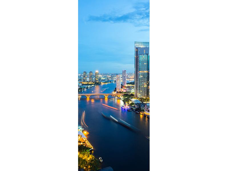 Türtapete Skyline Bangkok in der Abenddämmerung