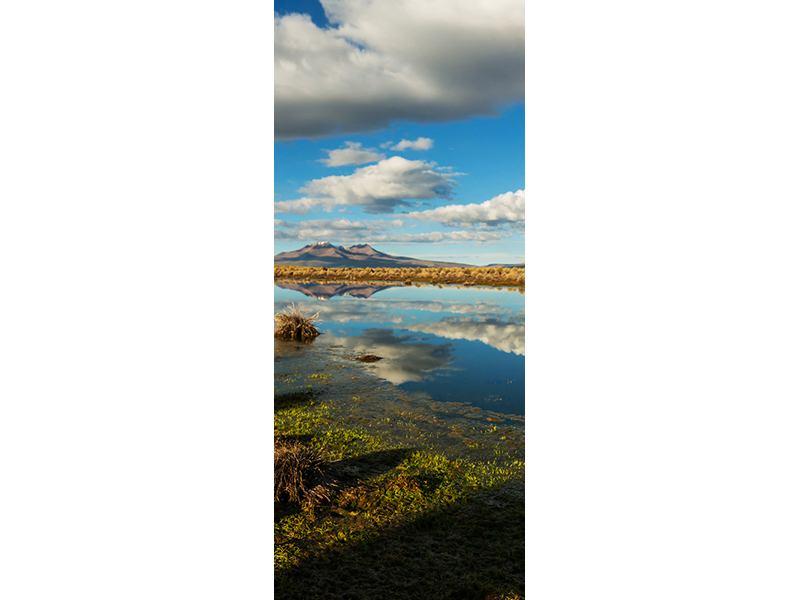 Türtapete Wasserspiegelung am See
