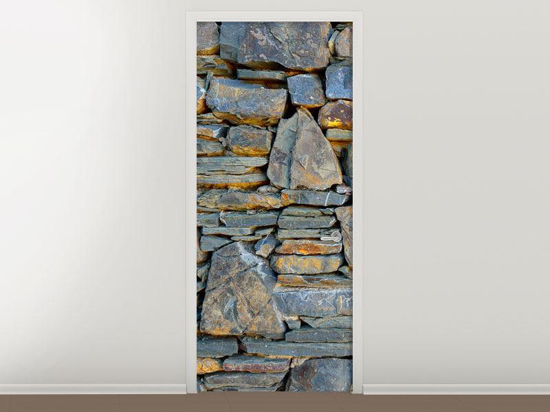 Türtapete Natürliche Steinmauer