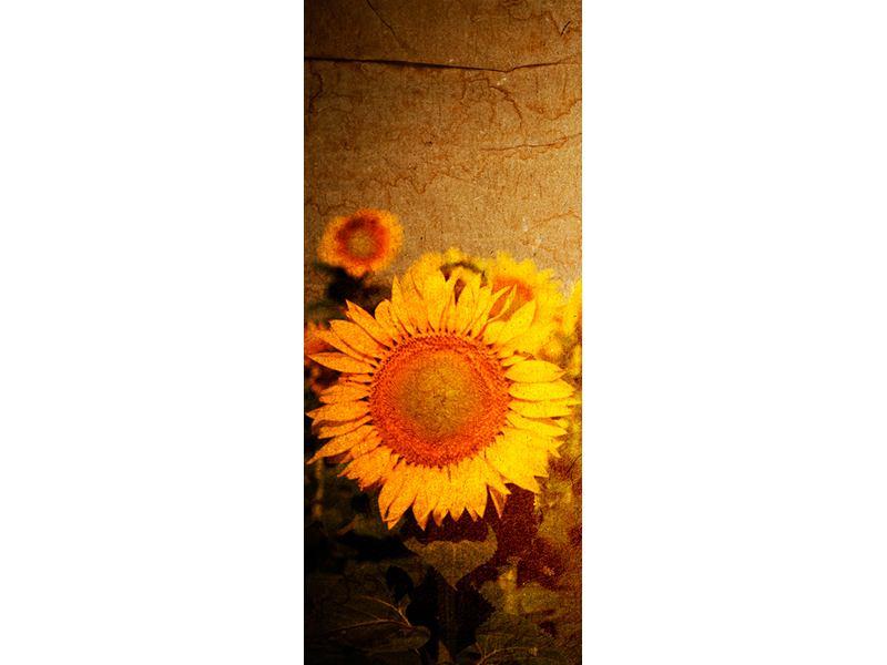 Türtapete Retro-Sonnenblumen