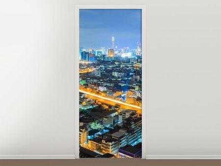 Türtapete Skyline Bangkok im Fieber der Nacht