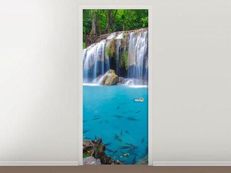 Türtapete Naturerlebnis Wasserfall