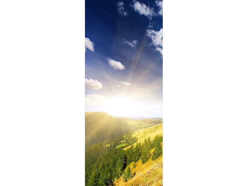 Türtapete Sonnenaufgang im Gebirge
