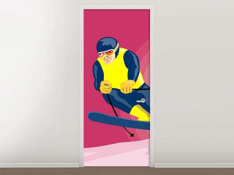 Türtapete Retro-Skifahrer