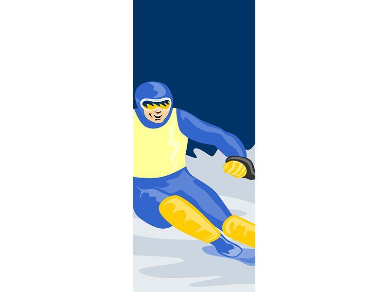 Türtapete Skifahrer im Retrostyle