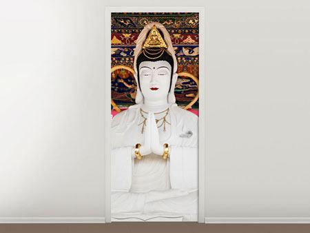 Türtapete Meditierende Buddha-Statur