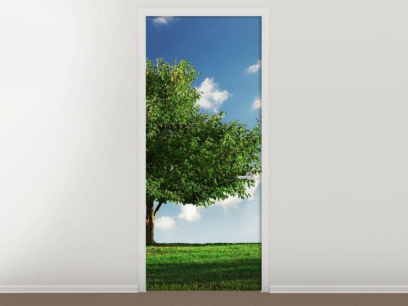 Türtapete Baum im Grün