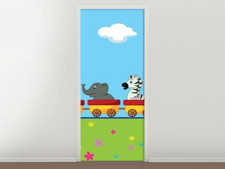 Türtapete Tierische Eisenbahn