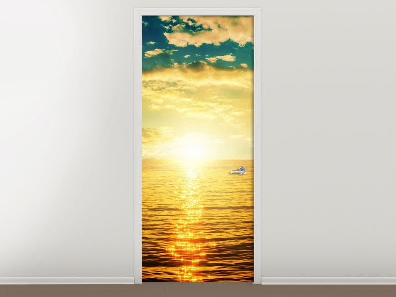 Türtapete Sonnenuntergang am Meereshorizont